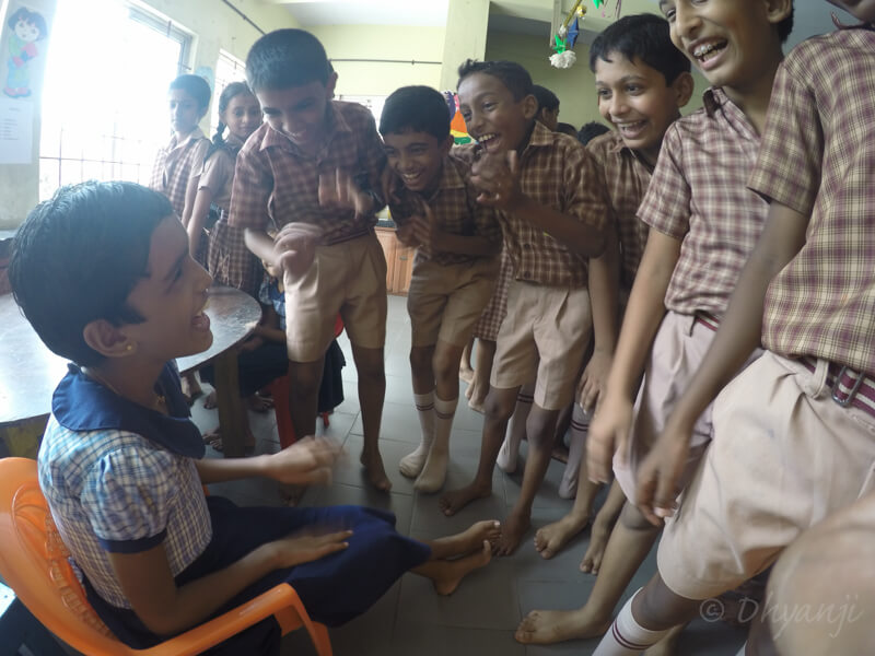 students interacting with